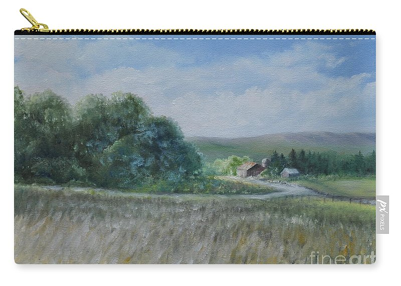 Country Scene Carry-all Pouch featuring the painting Country Farm by Penny Neimiller