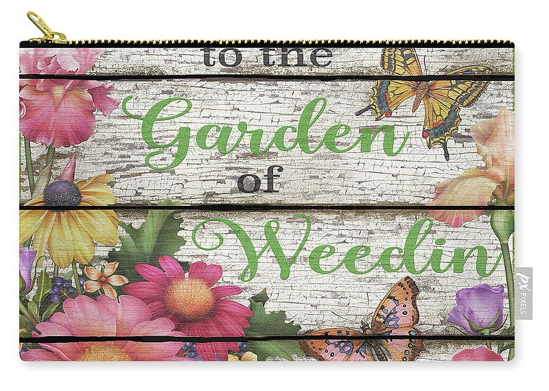 Floral Carry-all Pouch featuring the digital art Country Garden Sign-e by Jean Plout