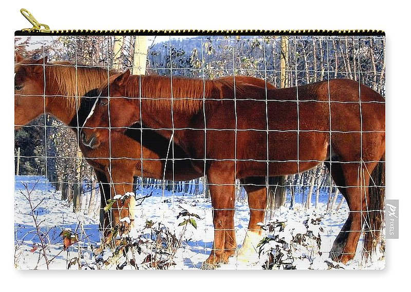 Horses Carry-all Pouch featuring the photograph Country Pals by Will Borden