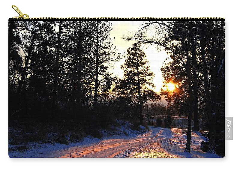 Country Road Carry-all Pouch featuring the photograph Country Road Sunset by Will Borden