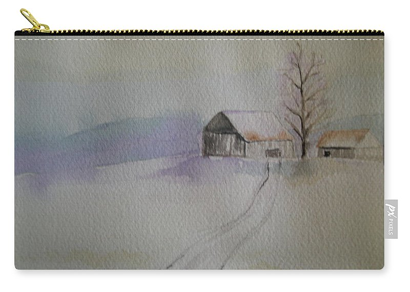 Barn Snow Winter Tree Landscape Cold Carry-all Pouch featuring the painting Country Snow by Patricia Caldwell