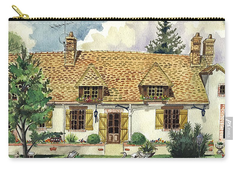 House Carry-all Pouch featuring the painting Countryside House In France by Alban Dizdari