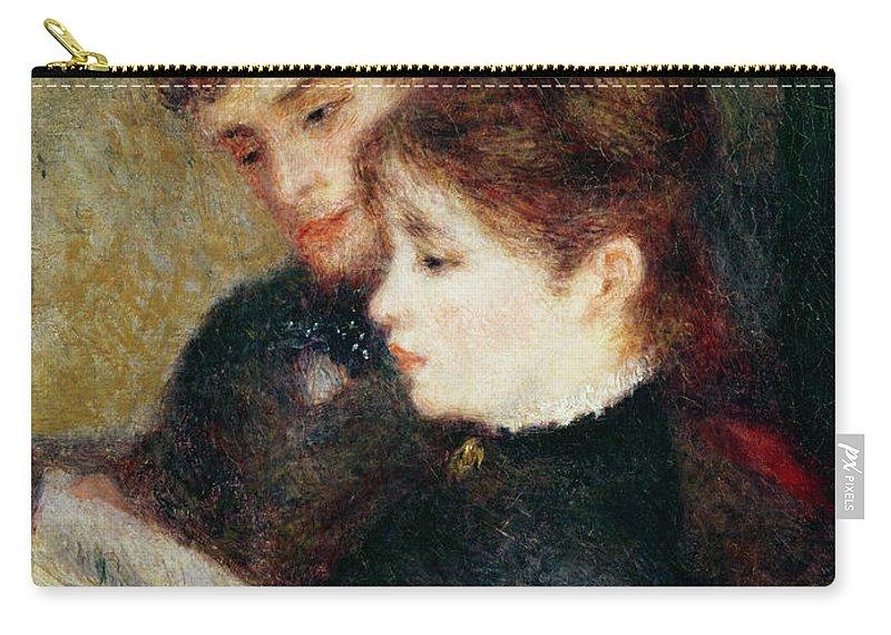 Couple Reading (edmond Renoir And Marguerite Legrand) By Pierre Auguste Renoir (1841-1919) Carry-all Pouch featuring the painting Couple Reading by Pierre Auguste Renoir