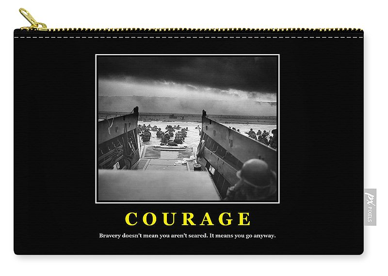 Courage Carry-all Pouch featuring the photograph Courage -- D Day Poster by War Is Hell Store