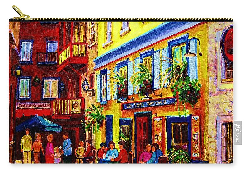 Courtyard Cafes Carry-all Pouch featuring the painting Courtyard Cafes by Carole Spandau