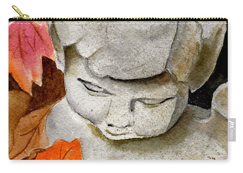 Watercolor Carry-all Pouch featuring the painting Courtyard Cherub by Brenda Owen