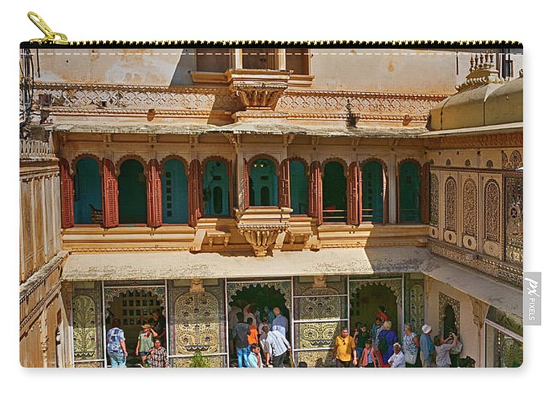 City Palace Carry-all Pouch featuring the photograph Courtyard, City Palace, Udaipur by Doug Matthews