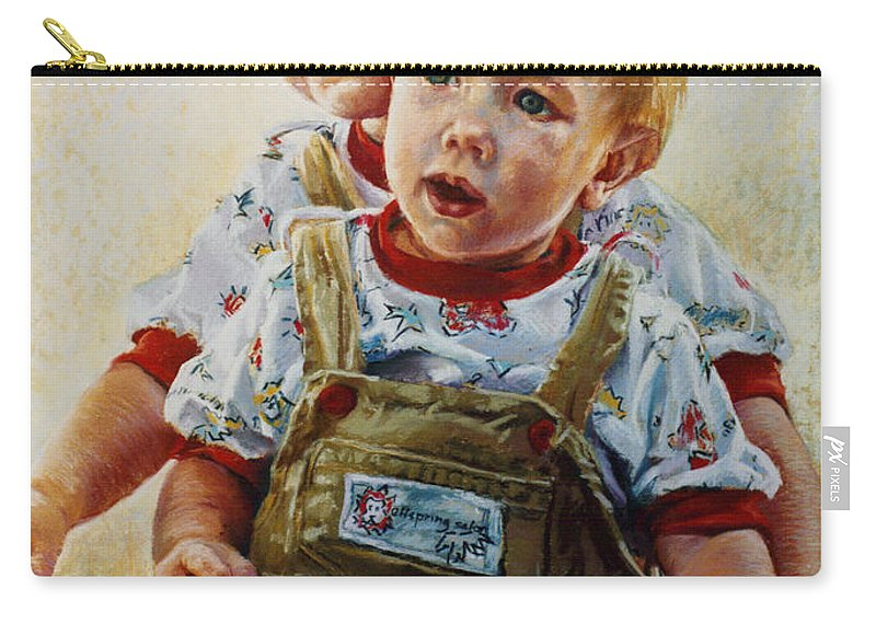 Pastel Portrait Carry-all Pouch featuring the pastel Cousins by Jean Hildebrant