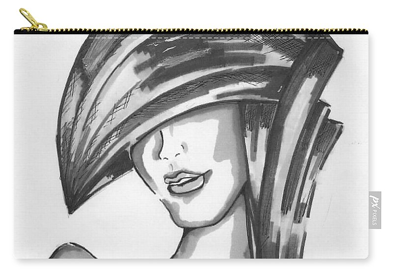 Face Carry-all Pouch featuring the drawing Cover Face by Veronica Estrada
