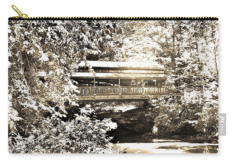 Covered Bridge At Lanterman's Mill Black And White Carry-all Pouch featuring the photograph Covered Bridge At Lanterman's Mill Black And White by Lisa Wooten