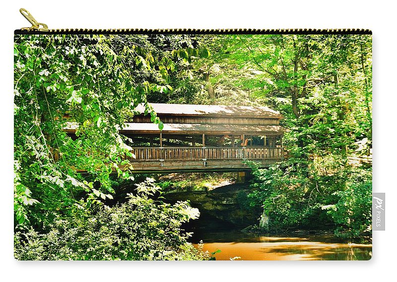Covered Bridge At Lanterman's Mill Carry-all Pouch featuring the photograph Covered Bridge At Lanterman's Mill by Lisa Wooten