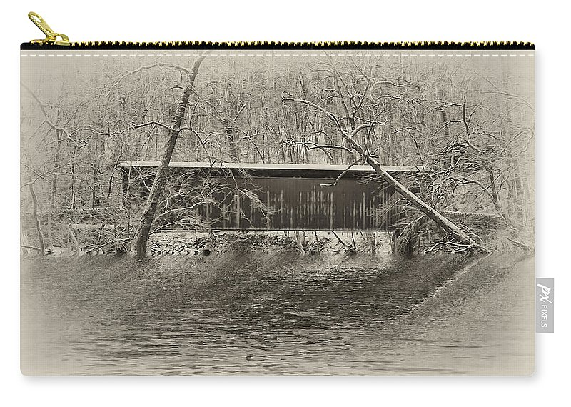 Philadelphia Carry-all Pouch featuring the photograph Covered Bridge In Black And White by Bill Cannon