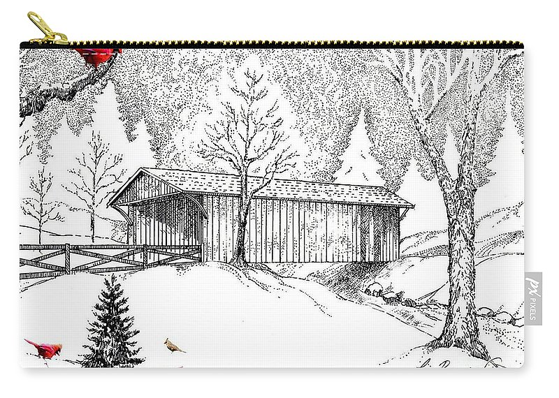 Drawings Carry-all Pouch featuring the drawing Covered Bridge by Lizi Beard-Ward
