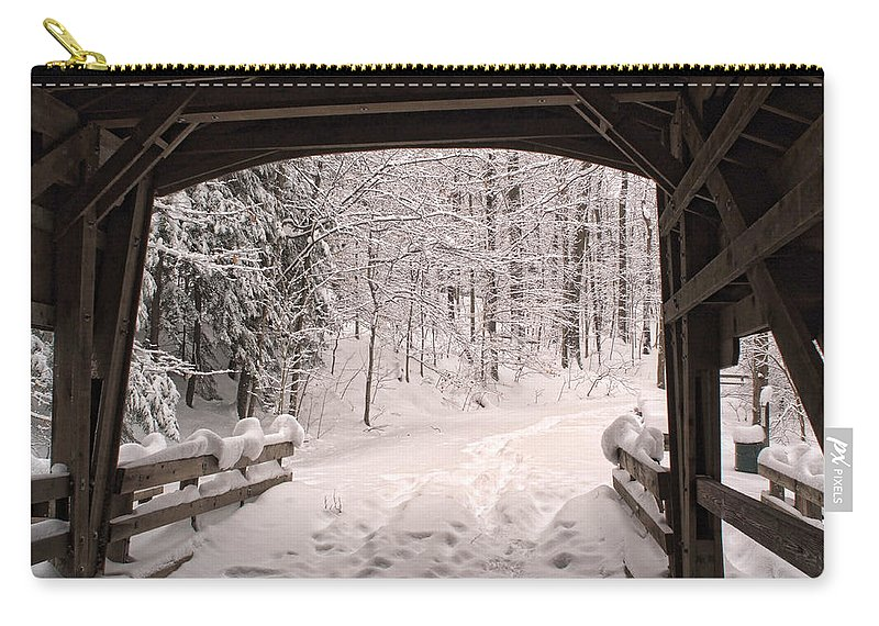 Covered Bridge Carry-all Pouch featuring the photograph Covered Bridge by Michael McGowan