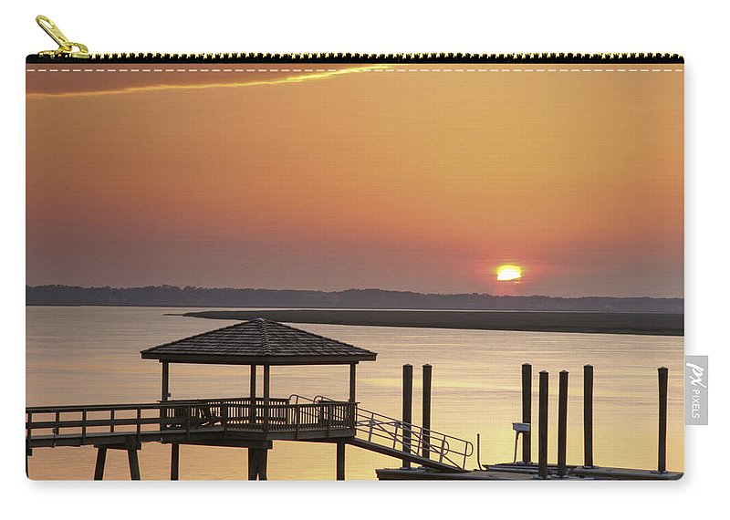 Sunset Carry-all Pouch featuring the photograph Covered Dock by Phill Doherty