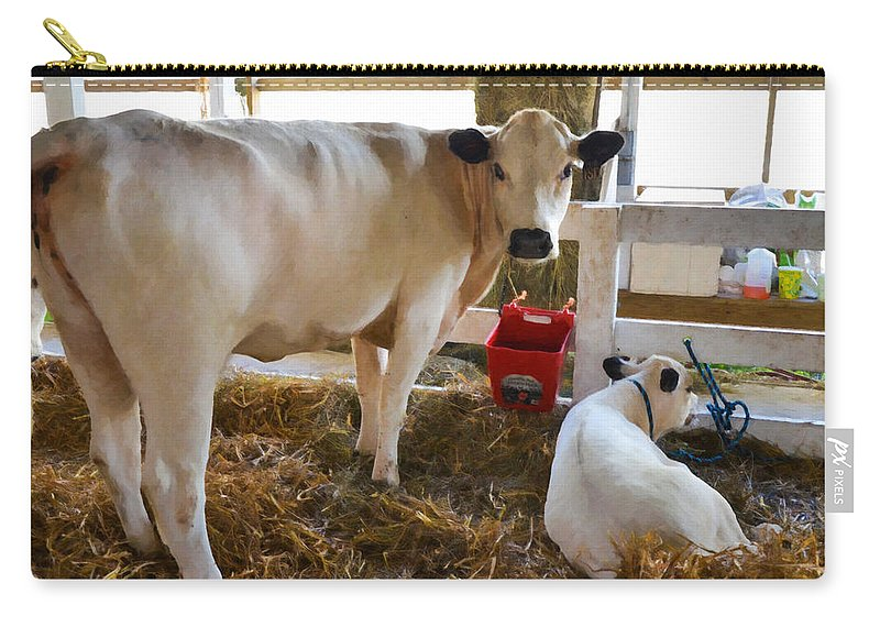 Cow And Little Calf Carry-all Pouch featuring the painting Cow And Little Calf by Jeelan Clark