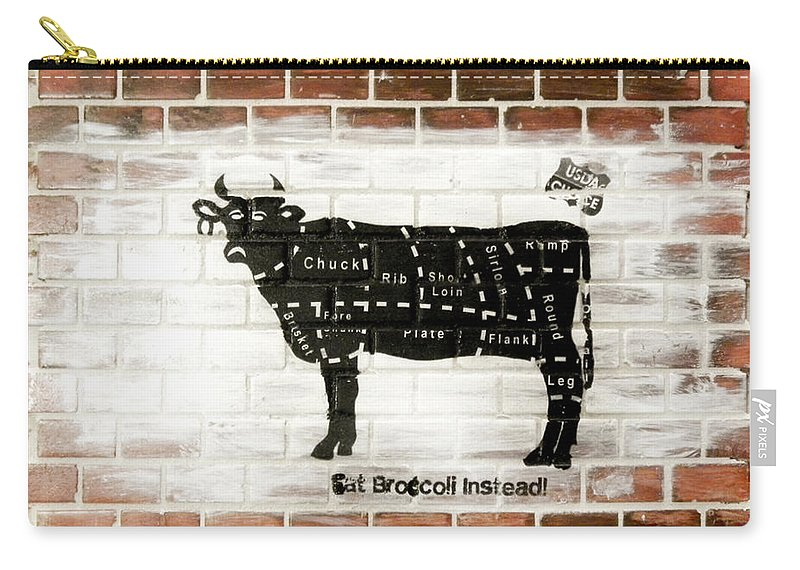 Brick Carry-all Pouch featuring the mixed media Cow Cuts by Herman Cerrato