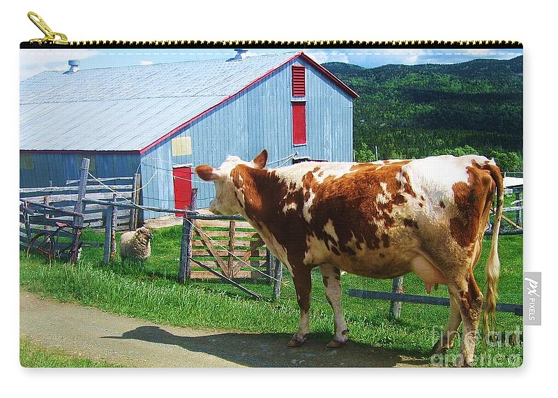 Photograph Cow Sheep Barn Field Newfoundland Carry-all Pouch featuring the photograph Cow Sheep And Bicycle by Seon-Jeong Kim