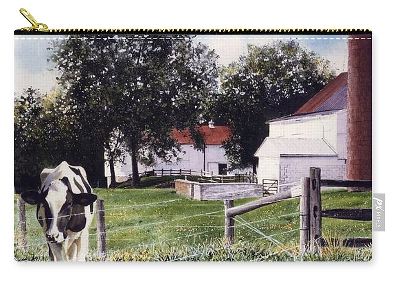 Cows Carry-all Pouch featuring the painting Cow Spotting by Denny Bond
