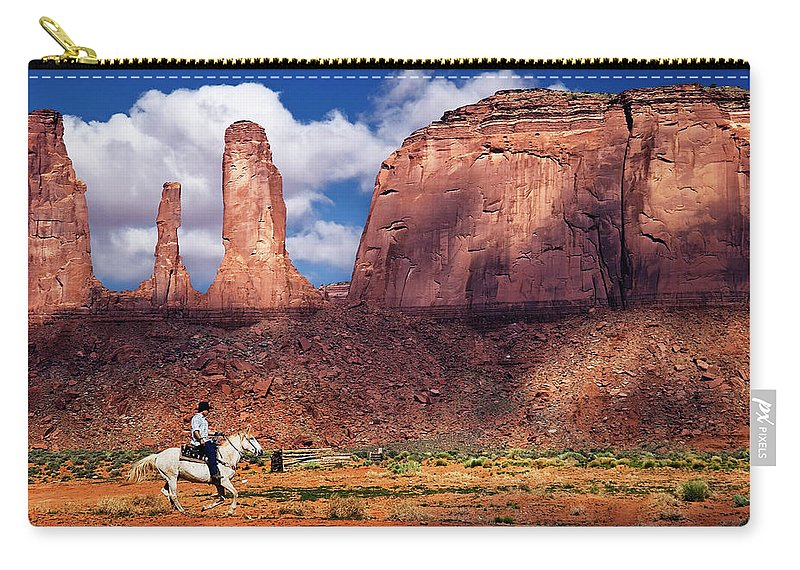 Cowboy Carry-all Pouch featuring the photograph Cowboy And Three Sisters by William Freebillyphotography