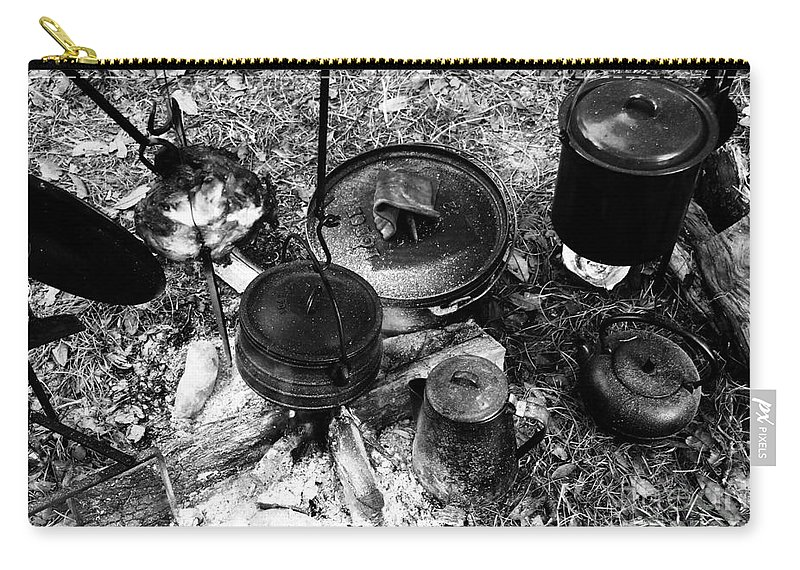 Cooking Carry-all Pouch featuring the photograph Cowboy Cooking by David Lee Thompson