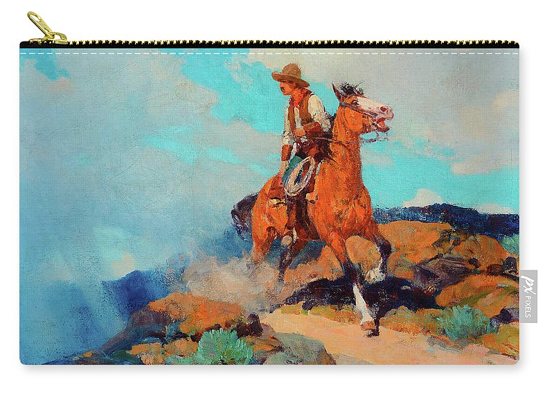 America Carry-all Pouch featuring the painting Cowboy by Frank Tenney Johnson