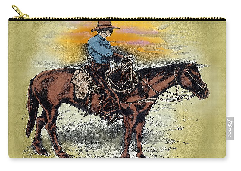 Cowboy Carry-all Pouch featuring the painting Cowboy N Sunset by Kevin Middleton