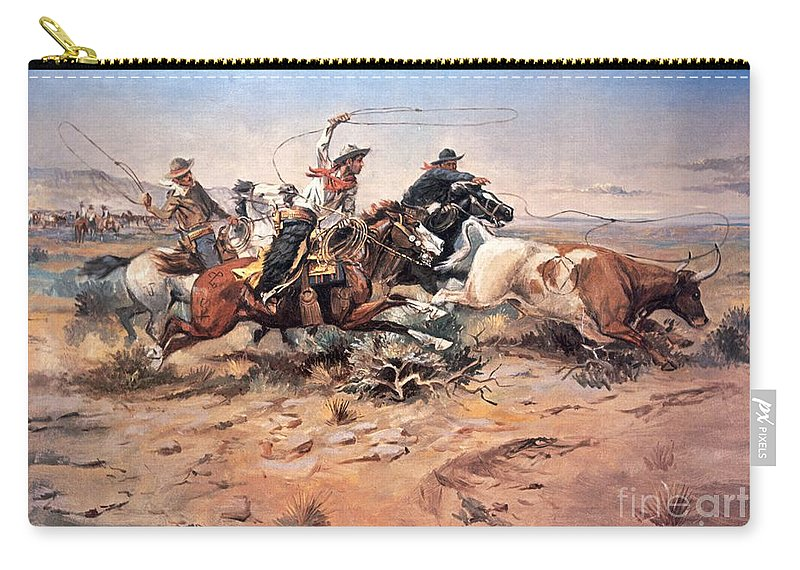 Cowboys Carry-all Pouch featuring the painting Cowboys roping a steer by Charles Marion Russell