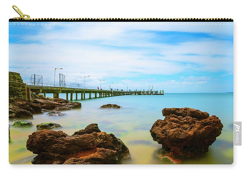 Landscapes Carry-all Pouch featuring the photograph Cowes Pier by DesignBoard Photography