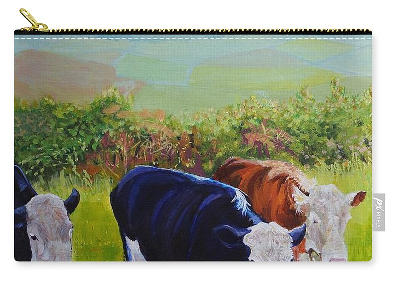 Misty Morning Carry-all Pouch featuring the painting Cows And English Landscape by Mike Jory
