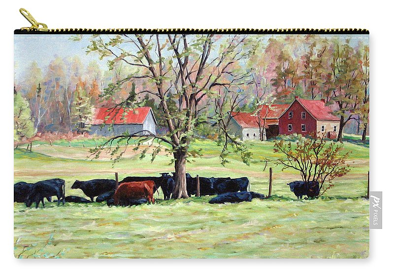 Cows Carry-all Pouch featuring the painting Cows Grazing In One Field by Richard T Pranke