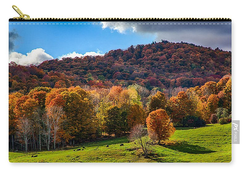#jefffolger Carry-all Pouch featuring the photograph Cows In Pomfret Vermont Fall Foliage by Jeff Folger