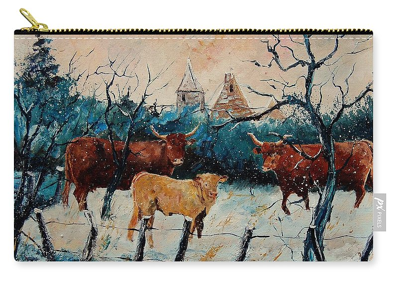 Animal Carry-all Pouch featuring the painting Cows by Pol Ledent