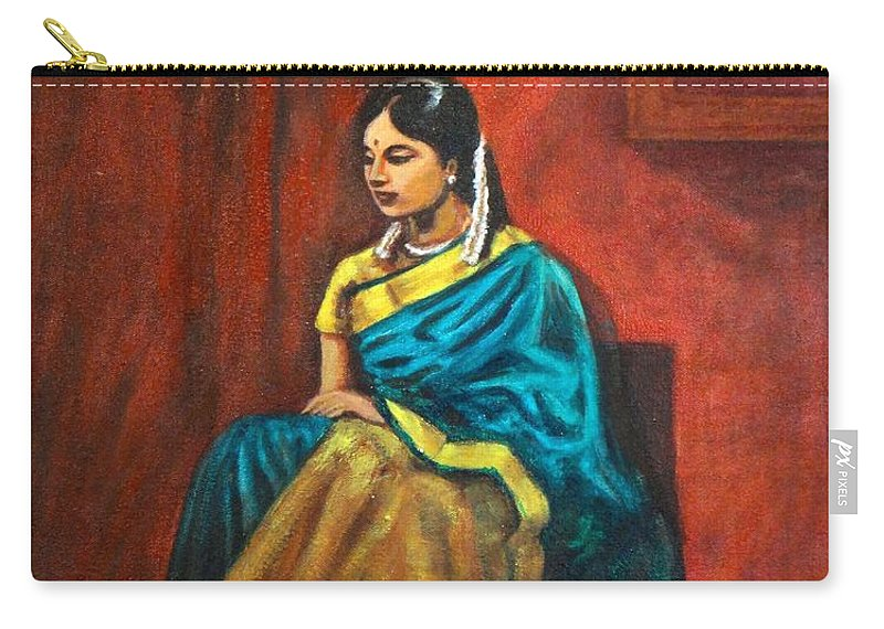 Coy Carry-all Pouch featuring the painting Coy by Usha Shantharam