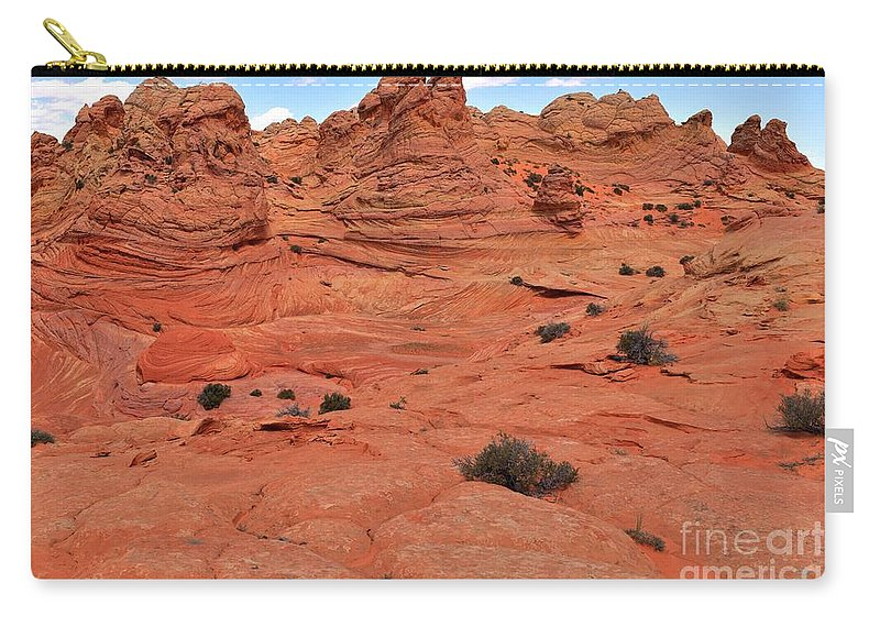 Vermilion Cliffs Panorama Carry-all Pouch featuring the photograph Coyote Buttes Pink Landscape by Adam Jewell