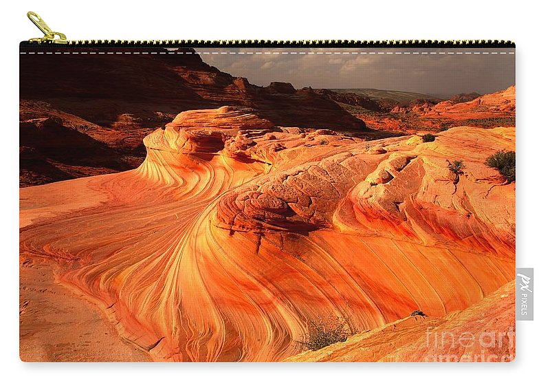 The Wave Carry-all Pouch featuring the photograph Coyote Buttes Rainbow Dragon by Adam Jewell