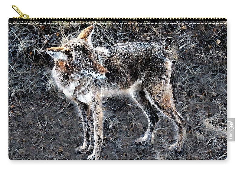 Coyote Carry-all Pouch featuring the painting Coyote Waits by David Lee Thompson