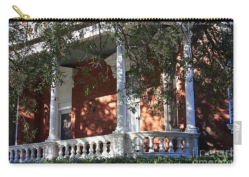 Savannah Carry-all Pouch featuring the photograph Cozy Savannah Porch by Carol Groenen