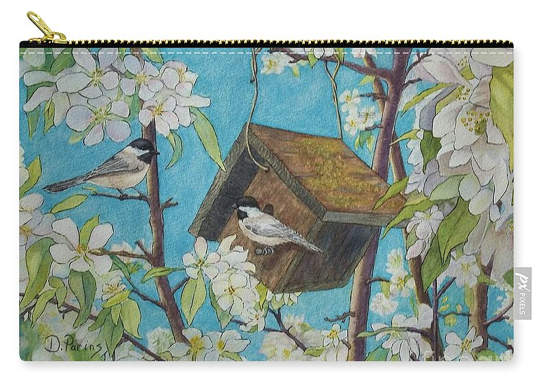 Dparins Carry-all Pouch featuring the painting Crabapple Chickadees by DParins Zich
