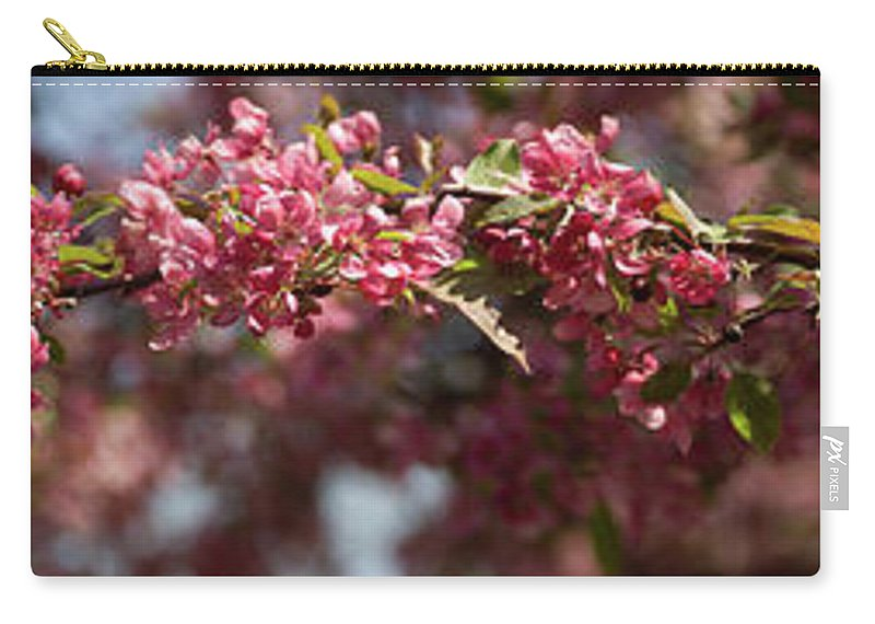 Crabapple Carry-all Pouch featuring the photograph Crabapple in spring panoramic by Michael Bessler