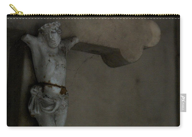 Jesus Christ Broken Cross Père Lachaise Cemetery Paris France Carry-all Pouch featuring the photograph Cracked Actor by J Bloomrosen