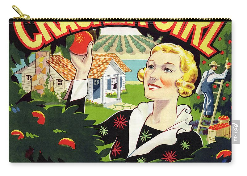 Cracker Girl Carry-all Pouch featuring the photograph Cracker Girl Citrus Crate Label C. 1920 by Daniel Hagerman