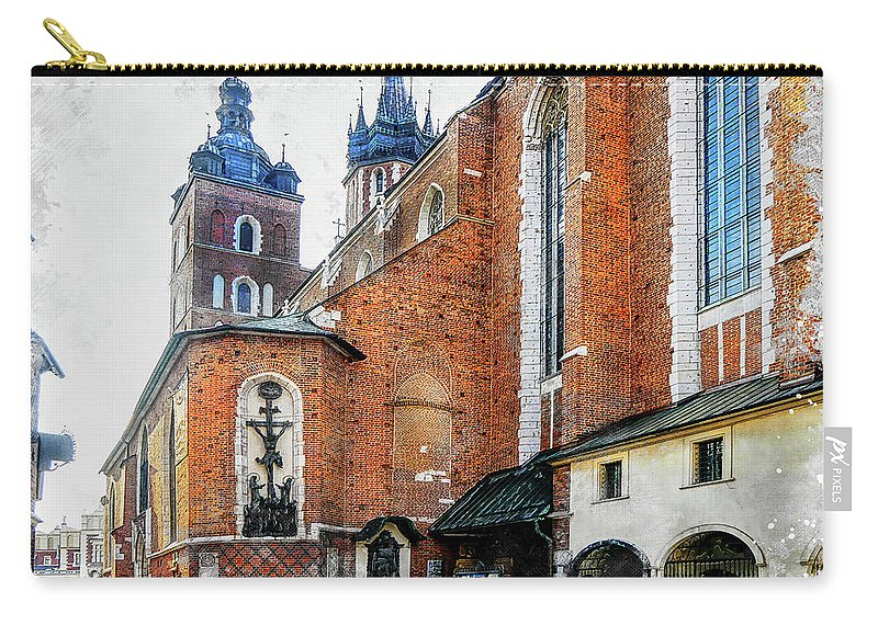Cracow Carry-all Pouch featuring the digital art Cracow Art 1 by Justyna JBJart