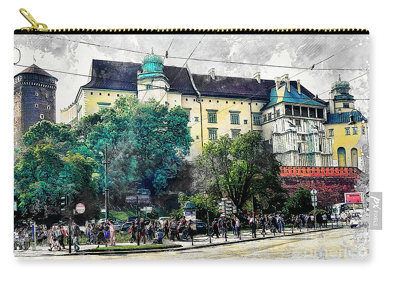 Cracow Carry-all Pouch featuring the digital art Cracow Art 2 Wawel by Justyna JBJart
