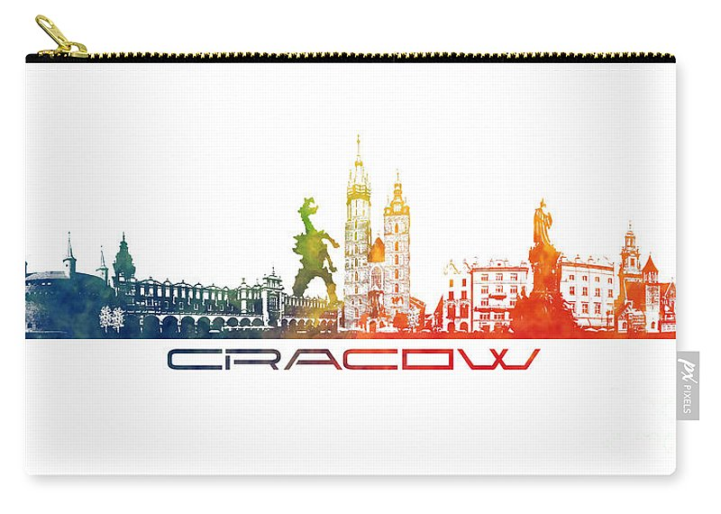 Cracow Carry-all Pouch featuring the digital art Cracow City Skyline Color by Justyna JBJart