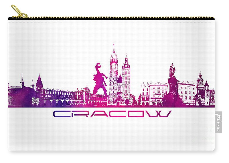 Cracow Carry-all Pouch featuring the digital art Cracow City Skyline Purple by Justyna JBJart