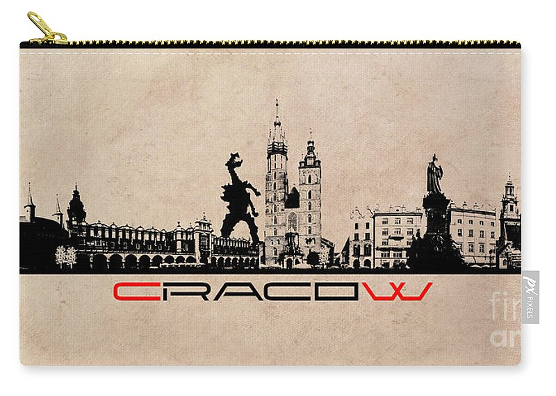 Cracow Carry-all Pouch featuring the digital art Cracow Skyline Black by Justyna JBJart