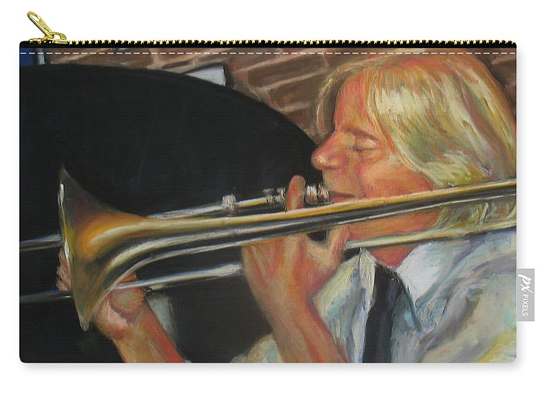 Pastel Carry-all Pouch featuring the painting Craig At Palm Court by Beverly Boulet