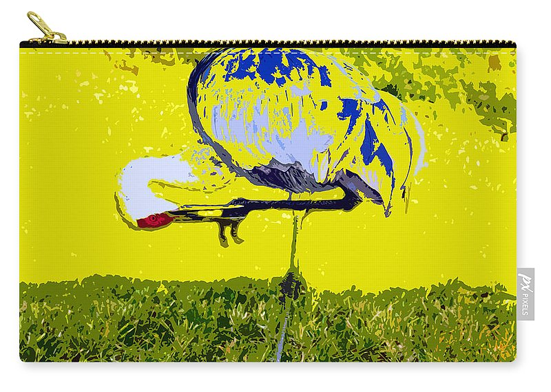 Sand Hill Crane Carry-all Pouch featuring the painting Craning by David Lee Thompson