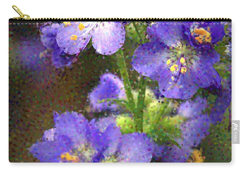 Flowers Carry-all Pouch featuring the photograph Craquelure On Blue by Deborah Benoit